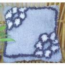 knüpfkissen blauwe bloemen (excl. knüpfhaken)