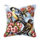 kreuzstichkissen vogels met bloemen