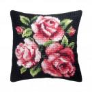 kreuzstichkissen rose rozen op zwart