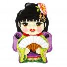kreuzstichkissen japans meisje met waaier