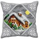 kreuzstichkissen huis in wintersfeer
