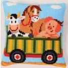 kreuzstichkissen bauernhof, tractor-kar met dieren-1