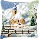 kreuzstichkissen kerk in wintersfeer