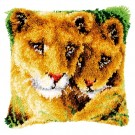 knüpfkissen leeuwin met welp