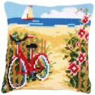 kreuzstichkissen fiets aan het strand