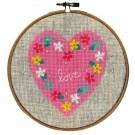 stickpackung hart met bloemen (incl. stickring)