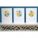 stickpackung glückwunschkarte (3 st.) gele met blauwe bloemen