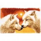 knüpfdecke wolven bij zonsondergang