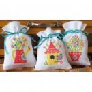 stickpackung kräutertütchen (3 st.) gieter, vogelhuisje en bloemen