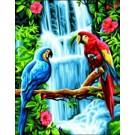 stramin papegaaien bij waterval