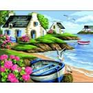 stramin landschap met roeiboot