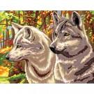 stramin + garnpaket, wolven in herfstsfeer