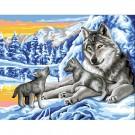 stramin + garnpaket, wolf met jongen in wintersfeer