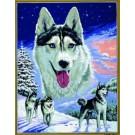 stramin + garnpaket, collage wolven